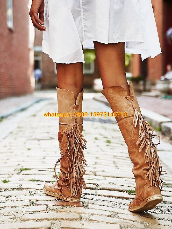 2015 New Style Women Knee Fringe Boots Vintage Bohemian