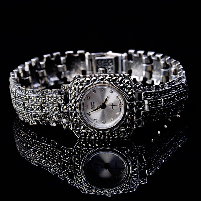 New Limited Edition Classic Elegant S925 Silver Pure Thai Silver Bracelet Watches Thailand Process Rhinestone Bangle Dresswatch