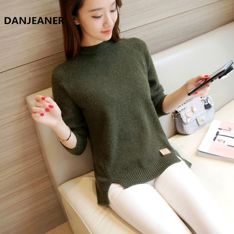 Danjeaner 2019 Women Sweaters And Pullovers Autumn Winter Long Sleeve Pull Femme Solid Pullover Female Casual Knitted Sweater
