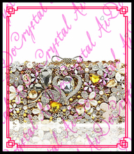Aidocrystal gold farbe kupplung verziert mit herz diamant und blumen mädchen hochzeit handtaschen