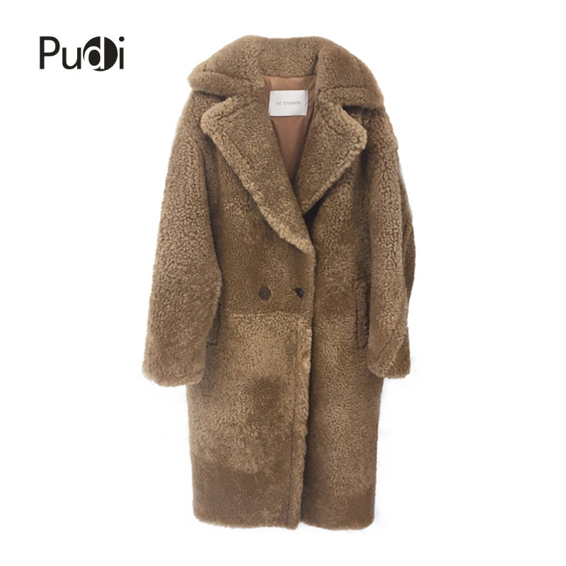 PUDI CT817 2018 new women fashion real sheep fur over coat girl leisure solid jacket coat(China)
