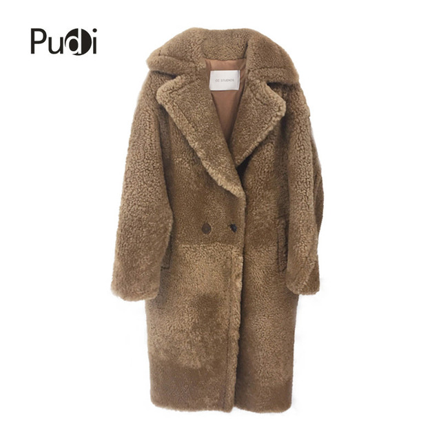 PUDI CT817 2018 new women fashion real sheep fur over coat girl leisure solid jacket coat