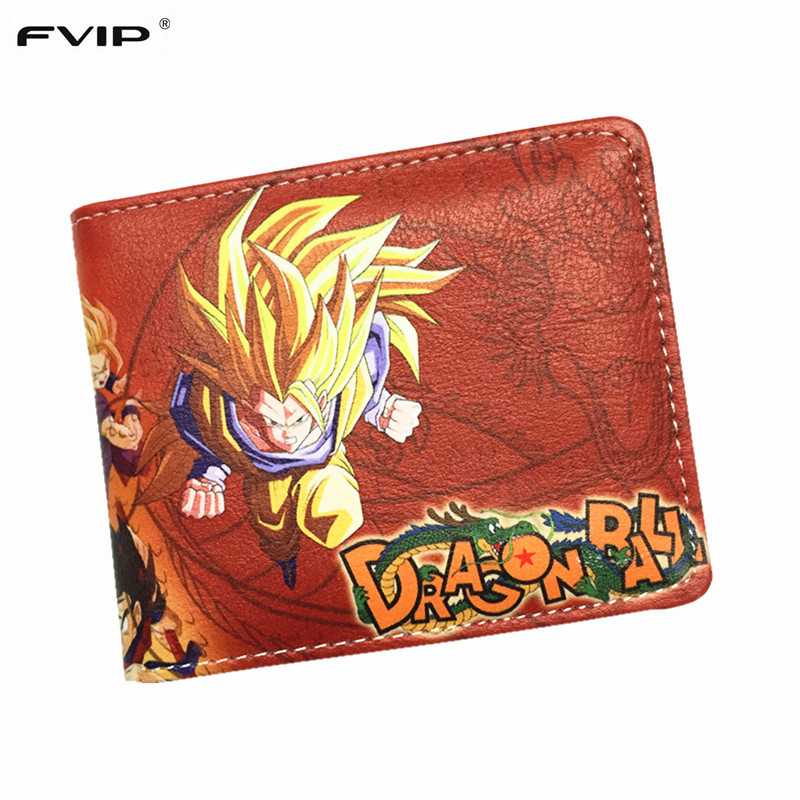 FVIP The Classic Anime Dragon Ball Z Wallet Young Men and Women Students Short Wallets Japanese Cartoon Comics Purse Dollar dragon ball z wallets men women creative gift purse standard short wallet leather money organizer bags cartoon anime wallet