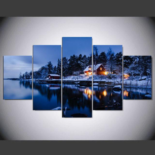 Dafenjingmo Kunst Dekoration Stockholm Schweden Dorf Winter By Nacht  Malerei Leinwand Malerei Für Wohnzimmer