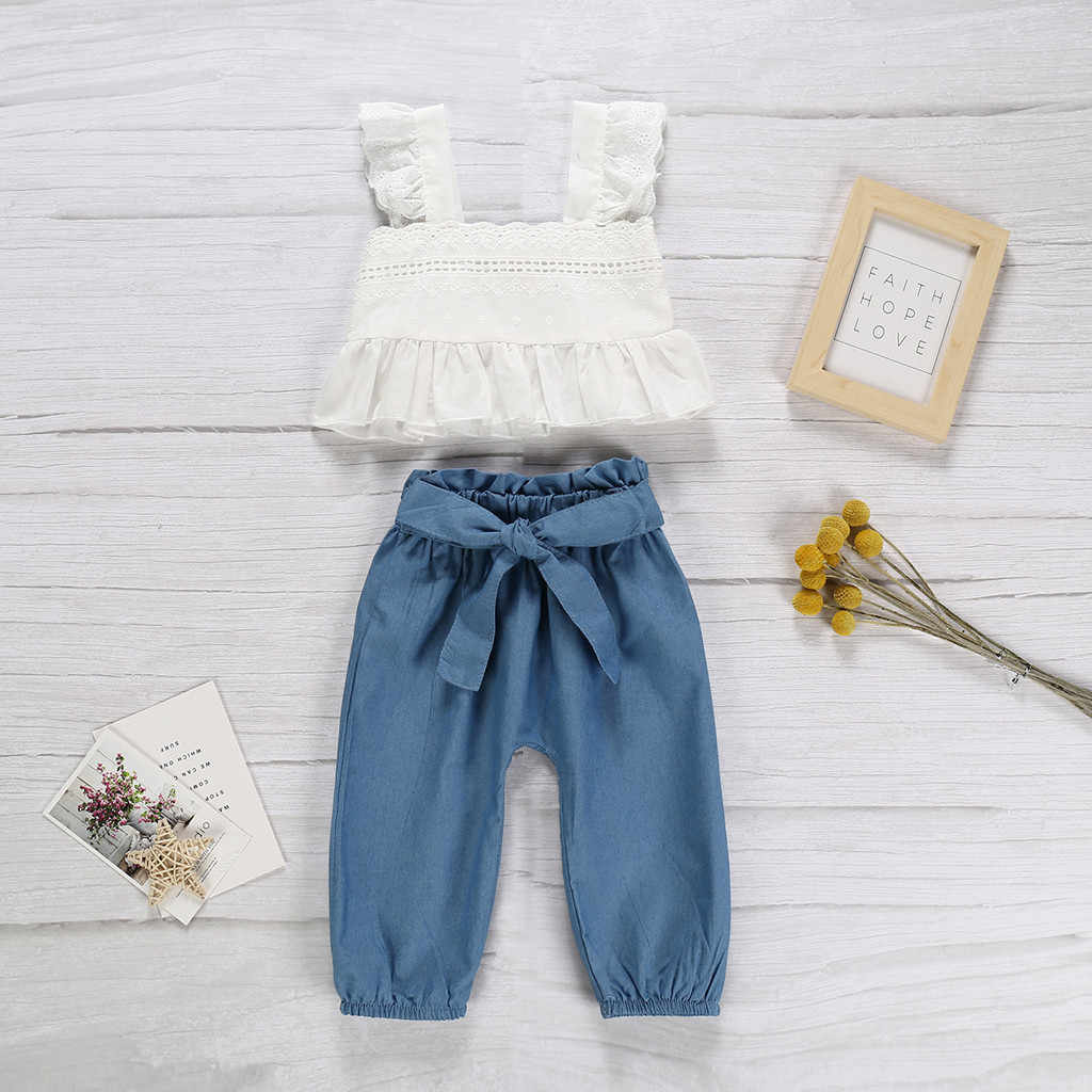 Toddler Kids Baby Girls Sets Strap Ruffled Lace White Tops Bow 1PC Vset +1PC Denim Pants 2Piece Child Clothes  Suit 1-4 Years 4