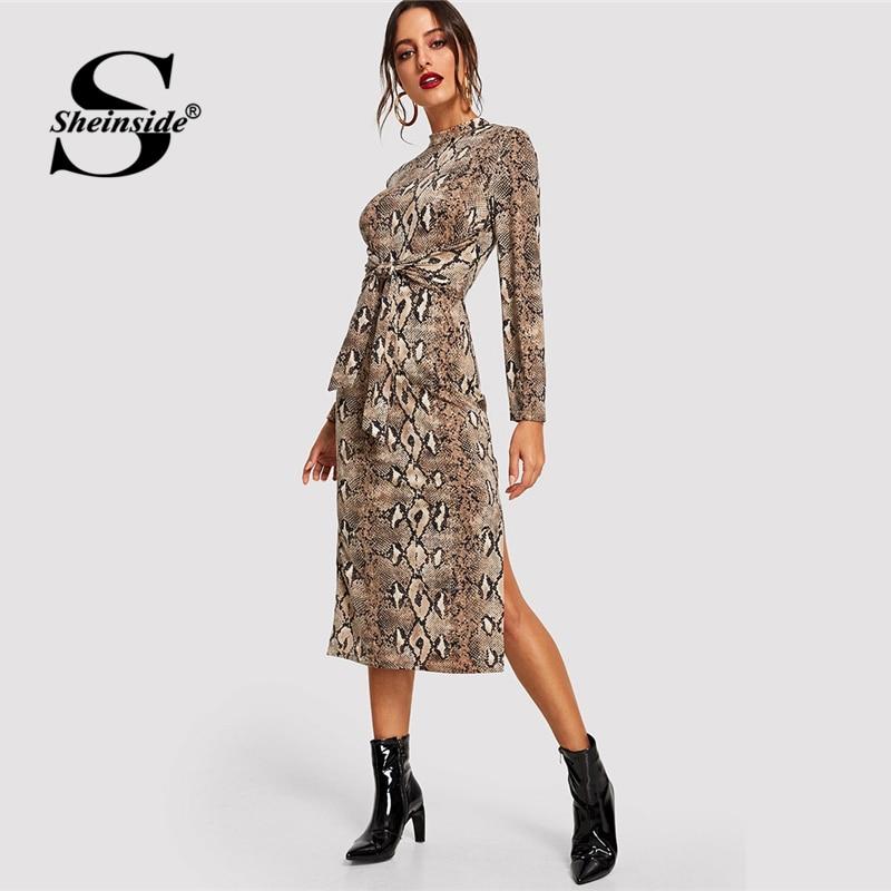 Sheinside макет средства ухода за кожей Шеи змея платье с принтом элегантные женские офисные женские платья миди одежда 2018 длинным рукавом осен