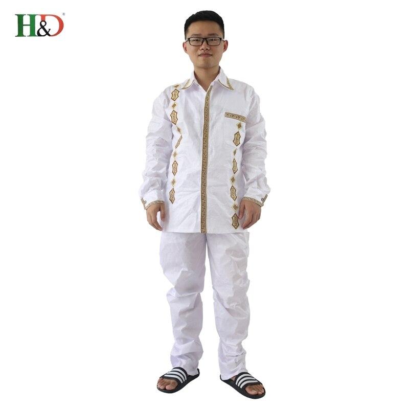 H&D African Man Kaftan print Bazin riche Dashiki Duge hlače s dugim - Nacionalna odjeća - Foto 4