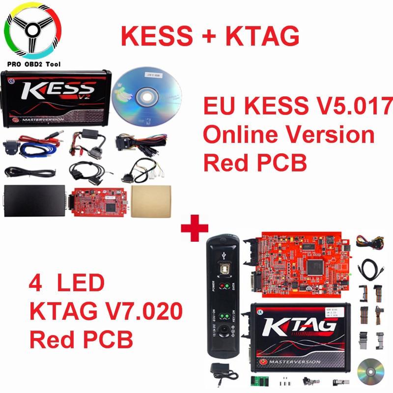 цена на Master Online EU Red Kess V2 V2.23 V2.47 ECU Chip Tuning 2018 Kess Ktag Kess V5.017 No Token Limited Ktag V7.020 ECU Programmer