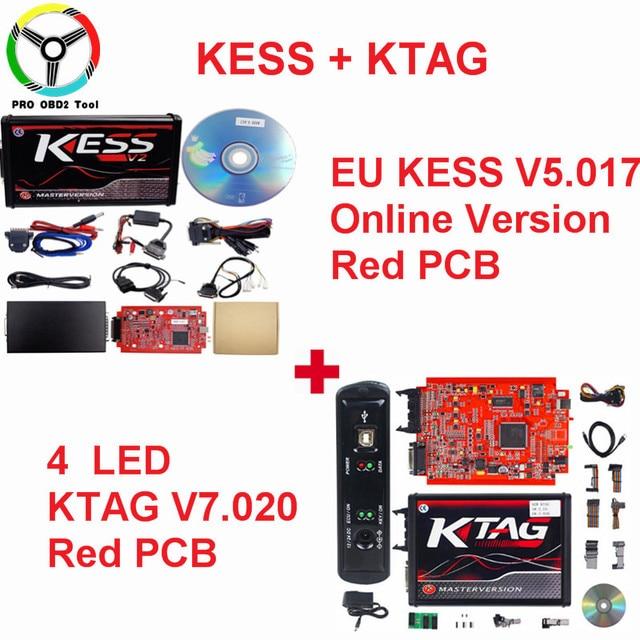 Newly Kess Ktag Online Red EU V2.47 V2.23 Kess V2 Master V5.017 Unlimited ECU Chip Tuning Tool K tag V7.020 4 LED ECU Programmer