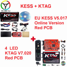 Online EU Red V5.017 Kess V2 V2.47 SW V2.23 2.47 OBD2 Manager Tuning Kit Ktag V7.020 4 LED K-TAG 7.020 No Token Limited ECU Tool
