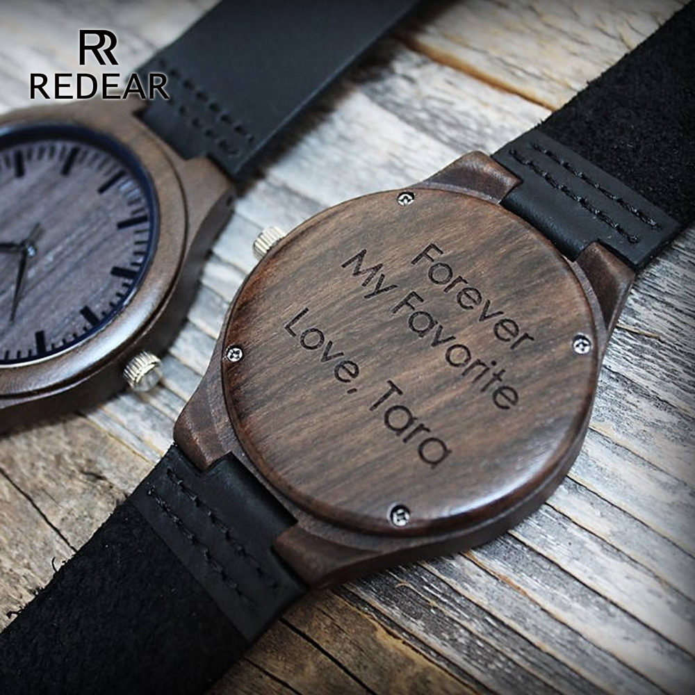 Personality Design Logo Write Your Message Carved Customize Black Sandalwood Wooden Watch Laser Print Contains watches