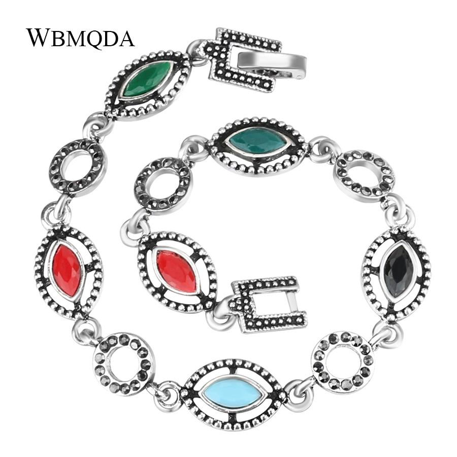 Wbmqda Vintage Bohemian Silver Color Eye Cross Bracelets Bangles Women Multicolor Resin Charms Love Ethnic Jewelry Wholesale