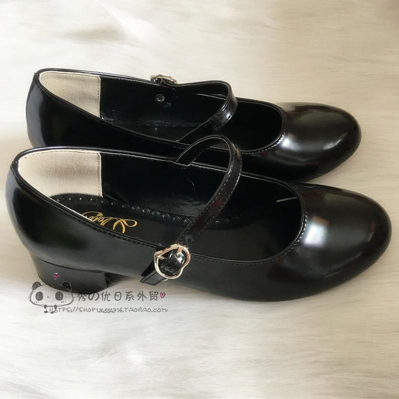 Low Heel Round Head PU Shoes Girls Flat Students Korean Harajuku Style Cosplay JK Uniform Lolita Shoes