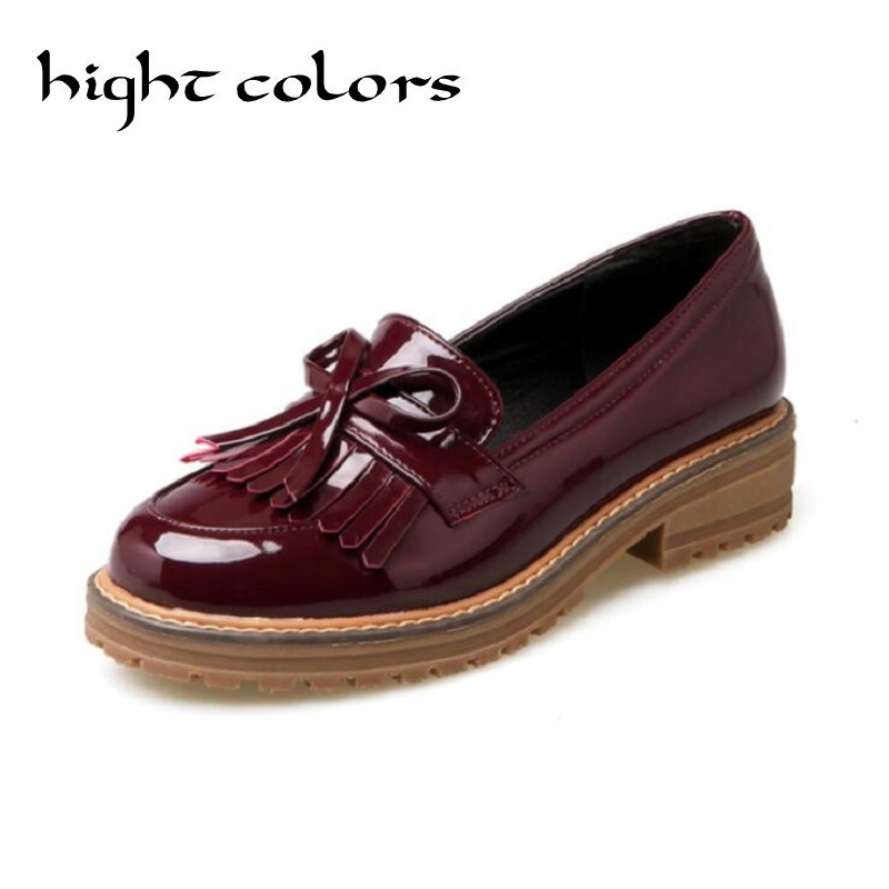 Big Size 43 Tassel Bow Loafers 2017 New Women Oxfords Patent Leather Platform Flats Spring Round Toe Slip-on Casual Shoes Woman high quality women oxfords low heel casual shoes patent leather tassel comfort slip on round toe creeper black loafers