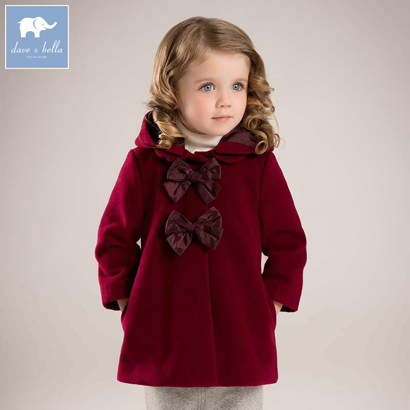 DB5985 dave bella winter infant baby girl big bows Jackets toddler girls wine Hooded outerwear children hight quality coat
