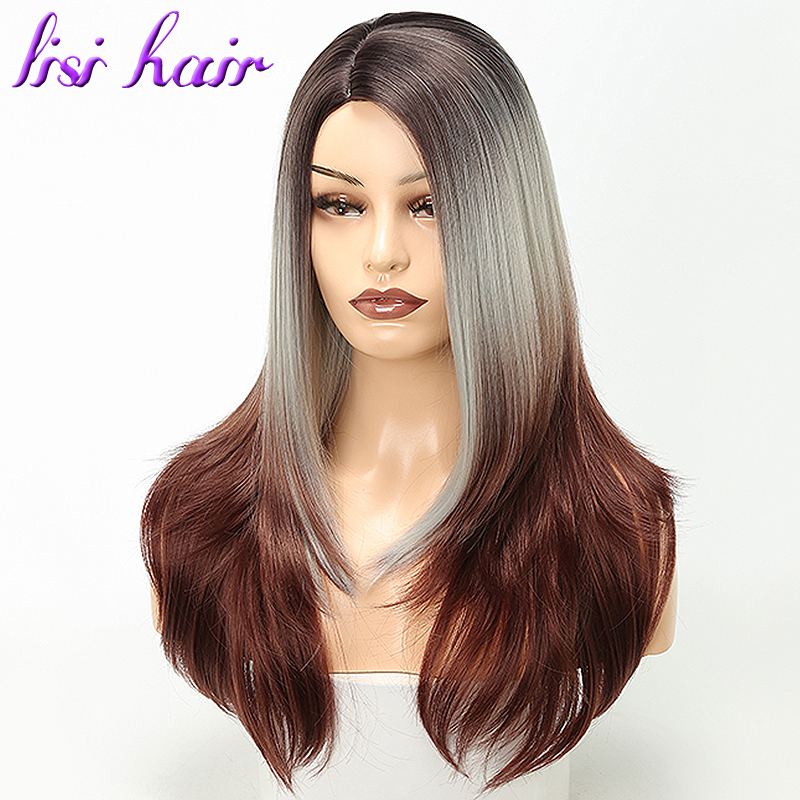 LISI HAIR 24inch Silver Grey Ombre Brown Synthetic Wigs For Women Long Straight False Hair