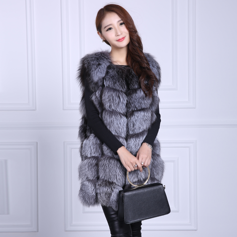 Luxury women real fox fur vest elegant lady fashion natural silver fox fur vests high quality