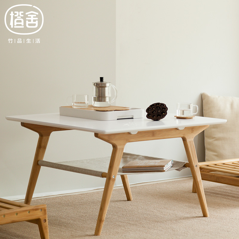 ZEN'S BAMBOO Square White Coffee table Wooden Tea table Double Layer Bamboo table Livingroom/bedroom/balcony Furniture