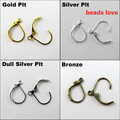 Pick 4 Colors 100pcs Ear Wire Hooks Stopper Clips&Locks/Earring Posts W/Stoppers 16x11mm Nickel FREE( w02910)