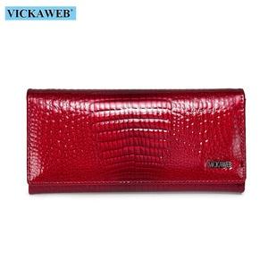 Image 2 - VICKAWEB Fashion Long Wallet Women Genuine Leather Alligator Womens Wallets And Purses Lady Hasp & Zipper Standar Wallet Female