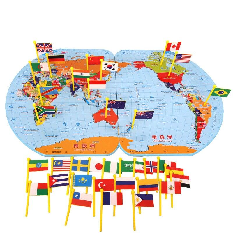 Matériel de géographie en bois Montessori carte du monde jouets éducatifs d'apprentissage précoce pour les tout-petits Juguetes Brinquedos YH1064H
