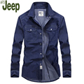 2017 Spring Men Shirt New Fashion Long sleeves Casual Solid Color Denim Turn-down Collar Tops Cotton Men Shirt Afs Jeep 93.75