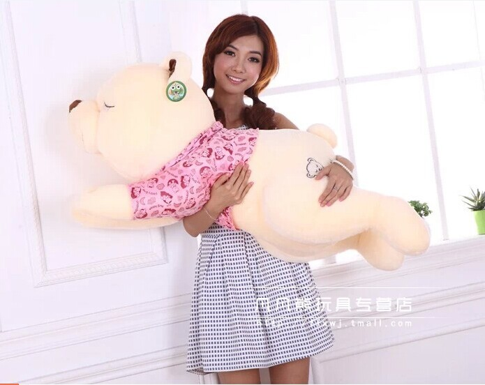 Stuffed animal 90cm sleeping bear plush toy lying bear doll throw pillow sleep pillow gift w3556 stuffed animal 90 cm plush dolphin toy doll pink or blue colour great gift free shipping w166