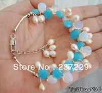 Wholesale price FREE SHIPPING ^^^^Blue Fire Opal White Pearl 18KWGP Link Clasp Bracelet
