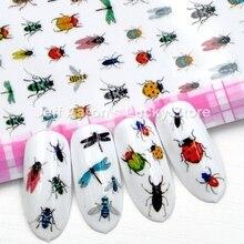 Самоклеющиеся наклейки для ногтей в виде насекомых, наклейки для ногтей, украшения для маникюра, искусственные ногти, аксессуары, Бабочка, стрекоза, пчела