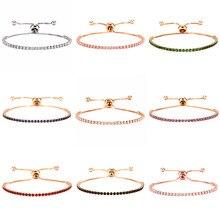 Einstellbare 9 Farben Kristall Charme Armbänder Für Frauen Mode CZ Tennis Armband & Armreif Hochzeit Täglich Schmuck Jahrestag Geschenk