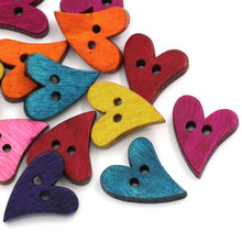 100Pcs Mixed Colors Heart Wood Sewing Wooden Buttons 2 Holes 21x17mm( 7/8x 5/8)