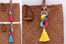1pc mix cor pompom chaveiros para mulher bolsa acessórios pompons com borla jóias