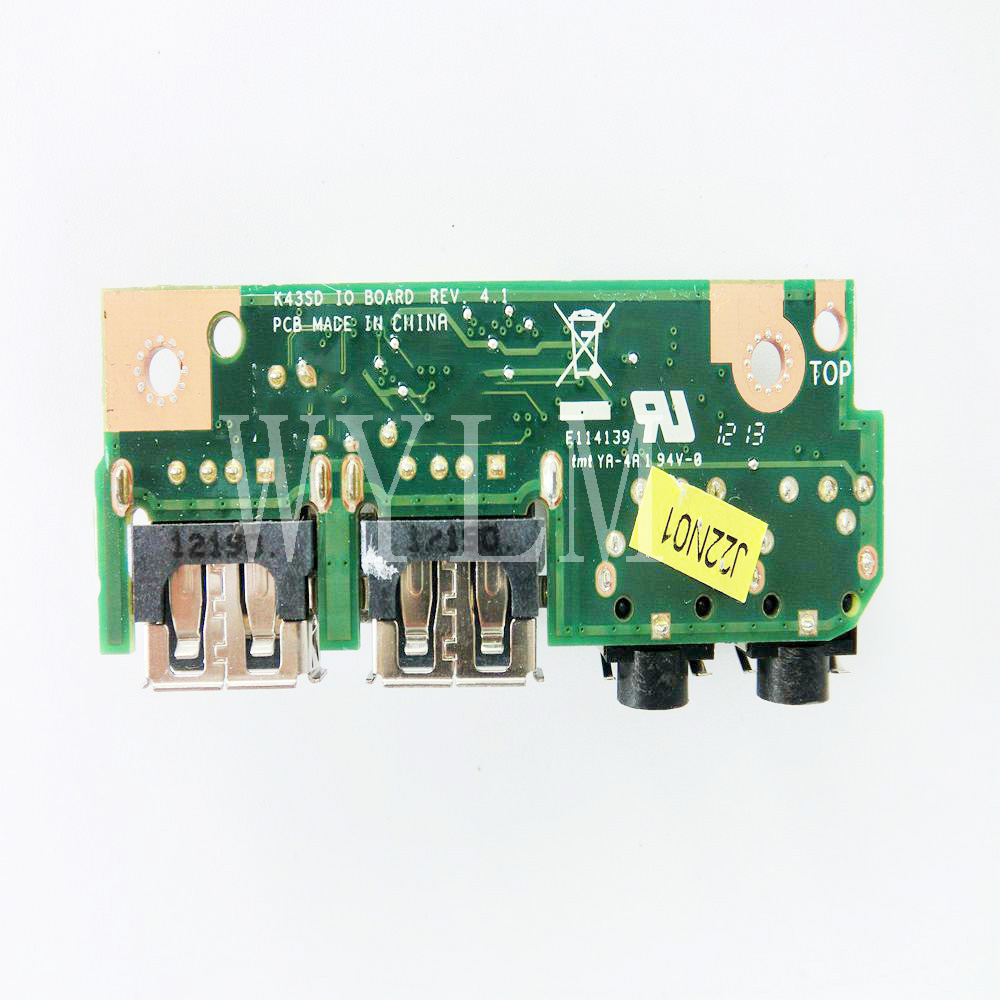 K43E Pour ASUS K43SD K43 K43SV A43S X43S K43S K43SJ P43SJ K43E Ordinateur Portable Audio USB 2.0 IO Conseil Carte D'interface JACK Conseil