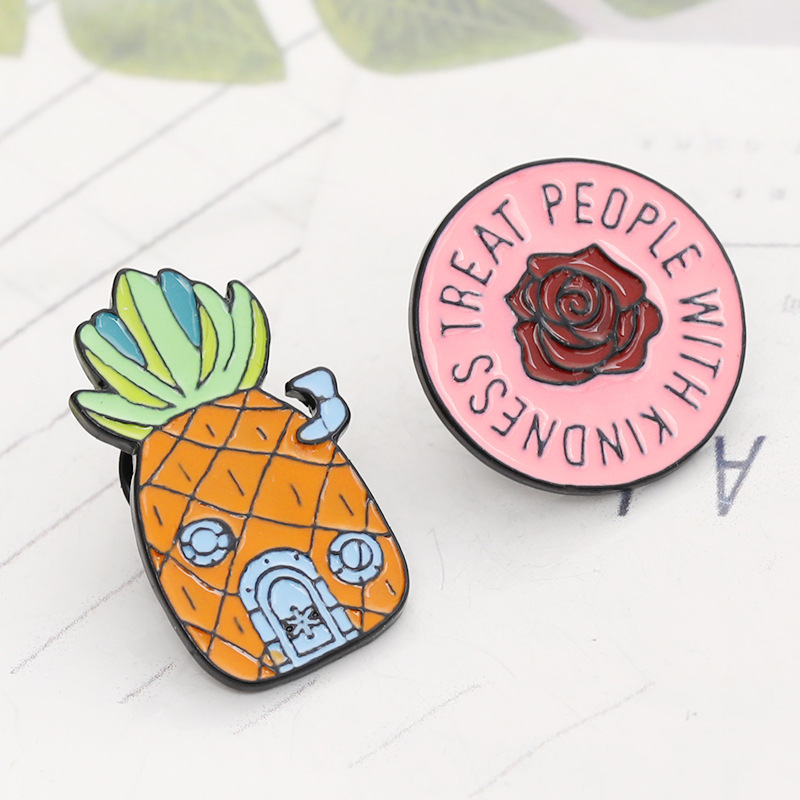 Cartoon Fruit Pineapple Female Brooches Rose Collar Pin Backpack Coat Badge for Women Kids Metal Alloy Jewelry Enamel Pins Gift in Brooches from Jewelry Accessories