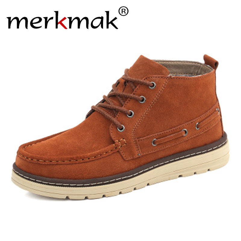 Merkmak Brand 2018 Autumn Winter Men Boots Cow Suede Leather Shoes For Men Fashion Footwear Ankle Boots Casual High Mens Shoes