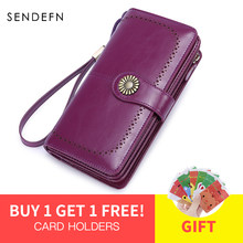 SENDEFN RFID Hot Women's Clutch Leather Wallet Female Long Wallet Ladies Zipper Purse Strap Money Bag Purse For iPhone 7 5162-55(China)
