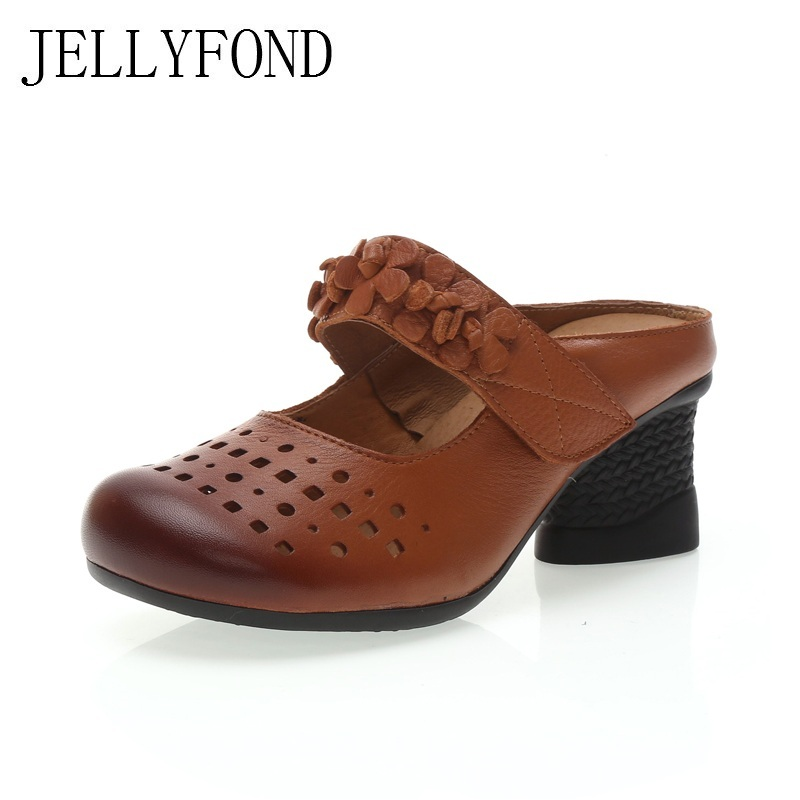 JELLYFOND Handmade Genuine Leather Flower Women Slippers Vintage Style Round Toe Chunky High Heels Slides Summer Shoes Woman summer autumn 2017 ethnic style genuine leather handmade shoes women round toe pumps hollow flower high heels