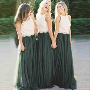 Bridesmaid Dresses Wedding Elegant Long Green Lace A-Line 2-Colors Tulle Skirt Top Emerald