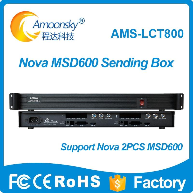 AMS LCT800 sender box led controller support 2 pcs Novastar sending card msd600 sender led display