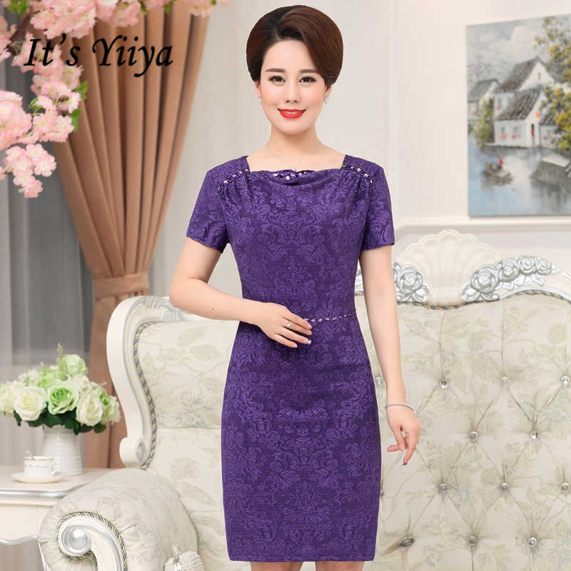 8730335e3c It's Yiiya Mother of the Bride Dresses Plus Size Purple Short Sleeve Pearls  Fashion Designer Elegant Mother Dress M056