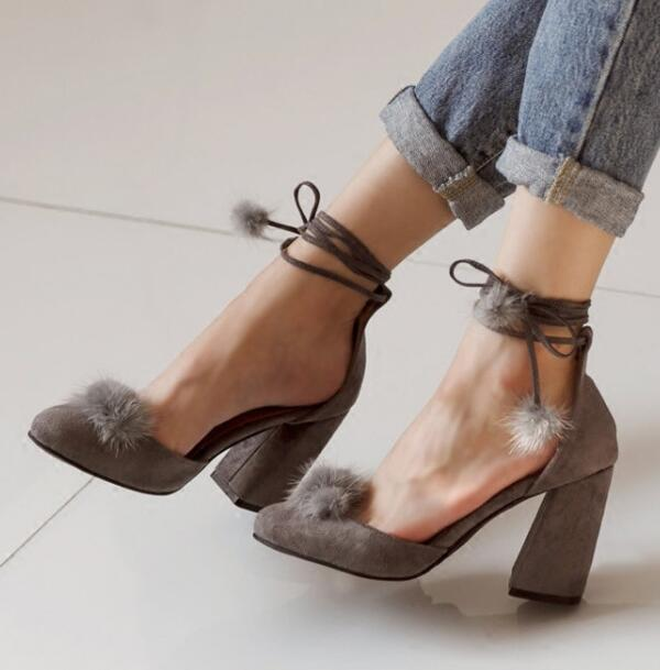 7475b28abc8f cute fur balls Cross straps suede leather closed toe lace up thick high heel  fur balls shoes chunky heel fur ball lace up shoes-in Women s Pumps from  Shoes ...