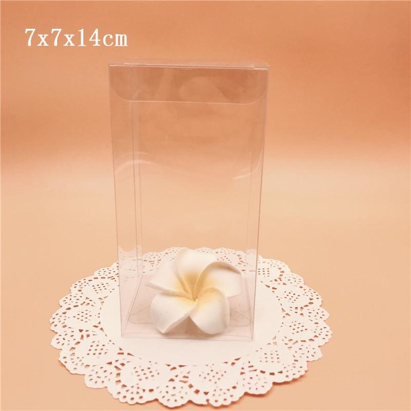 7*7*14cm Transparent PVC Boxes Clear Plastic Gift Souvenir Box Wedding Party Supply Package Box caja de dulces