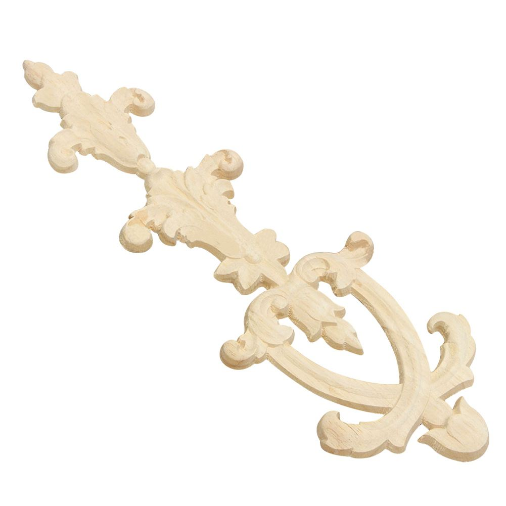 HOT GCZW-Rubber Wood Carved Onlay Applique Unpainted Flower Door Home Furniture Decor Size:30X10cm