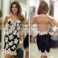 Vestido De Festa 2016 Boutique Lace Full Long Sleeves See Through Back Short Party Dress Elegant Cocktail Dresses Customer Made