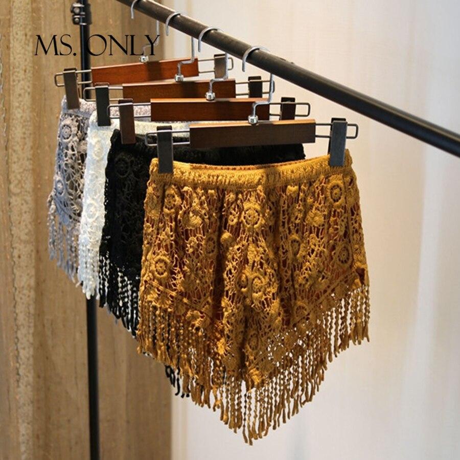 Women Plus Size Crochet Lace Hollow Out Floral Pattern Tassel Hot   Shorts   Casual Tassel Elastic High Waist Jersey Flat Hotpant