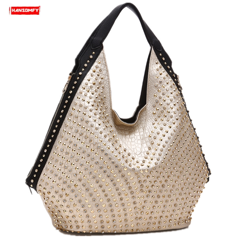 Luxury fashion diamonds Women handbags wild soft leather female shoulder bag drill portable rhinestone bag rivet