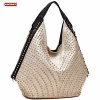高級ファッションダイヤモンド女性のハンドバッグ野生ソフトレザー女性のショルダーバッグドリルポータブルラインストーンバッグリベット餃子バッグ