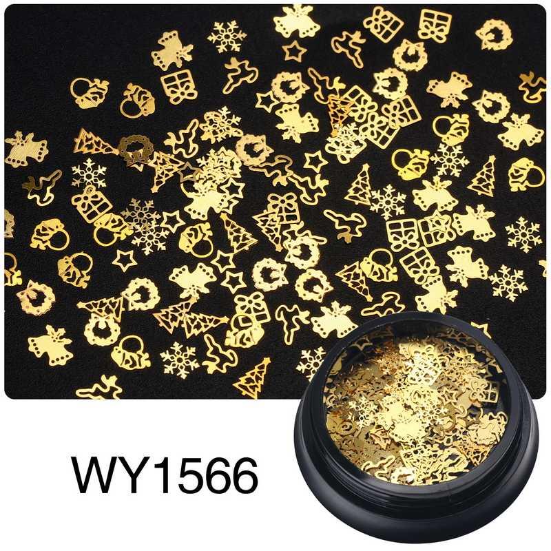 Elessicalโลหะขนาดเล็กชิ้นผสมคริสต์มาสผีเสื้อดอกไม้Steampunkเกียร์โลหะFlakes 3d Gold Nail Artสติกเกอร์ตกแต่ง