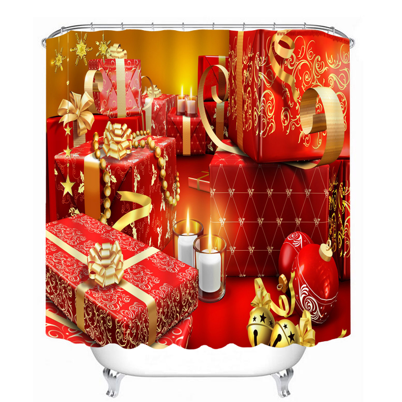 New 3D Shower Curtains Exquisite Christmas Gifts Pattern Waterproof Fabrics Bathroom Products Curtain Washable Bath Curtain Hook