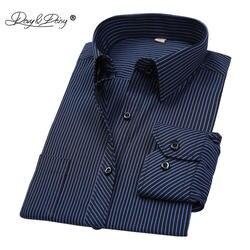 DAVYDAISY Лидер продаж Весенняя Мужская рубашка Длинные рукава в полоску Solid плед мужской Бизнес рубашка брендовая одежда официальная рубашка